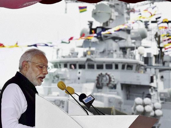 Prime Minister of India, Narendra Modi, Prime Minister of Mauritius, Anerood Jugnauth,  Commission, India-built, Mauritian, Naval, Patrol, Ship