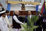 Prime Minister Narendra Modi shakes hands with his Mauritian counterpart Anerood Jugnauth