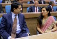 Aditya Birla Group Chairman Kumar Mangalam Birla and ICICI Bank CEO Chanda Kochhar