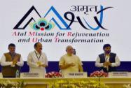 Prime Minister Narendra Modi with Venkaiah Naidu, Devendra Fadnavis