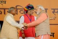 "Prime Minister Narendra Modi with Rajasthan Governor Kalyan Singh launches"" Soil Health Card"" scheme"