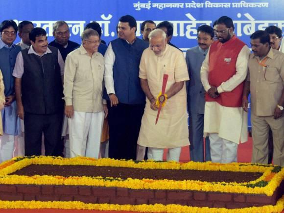 Prime Minister of India, Narendra Modi in Mumbai, Babasaheb Ambedkar, Chaitya Bhoomi, Maharashtra CM Devendra Fadnavis