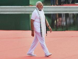 Prime Minister Narendra Modi arrives for the 2nd International Day of Yoga