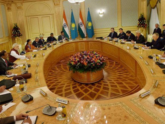 Narendra Modi, Kazakhstan, India, Nursultan Nazarbayev, Astana,  Prime Minister of Kazakhstan, Karim Massimov, Essar Group,  GMR, BHEL, NASSCOM, Punjab National Bank, FICCI, Lupin, Punj Llyod, SUN Group