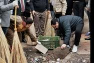 Union Health and Family Welfare Minister J P Nadda and BJP MP Meenakshi Lekhi  participate in the Swachh Bharat Abhiyaan