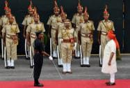 Prime Minister Narendra Modi after inspecting the guard of honour