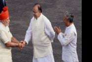 Prime Minister Narendra Modi is received by Defence Minister Arun Jaitley and MoS Rao Inderjit Singh