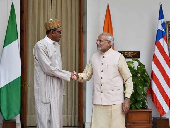 Nigeria President, Muhammadu Buhari, Prime Minister of India, Narendra Modi, Hyderabad House