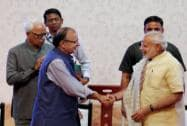 Narendra Modi with Arun Jaitley, NN Vohra and Mufti Mohammed Sayeed