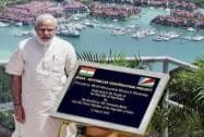 Prime Minister Narendra Modi unveiling a plaque during dedication of the India - Seychelles cooperation project