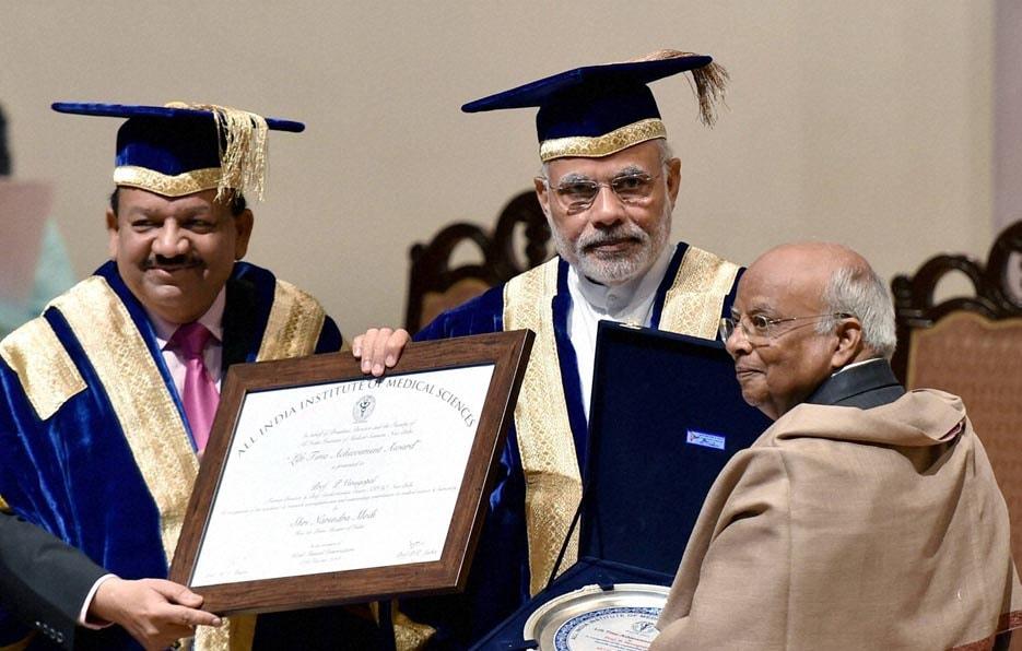 Prime Minister, Narendra Modi, presenting, Lifetime Achievement Award, Former AIIMS, Director, P Venugopal
