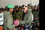 Prime Minister Narendra Modi exchanging Diwali gifts with the Officers and Jawans of Indian Armed Forces