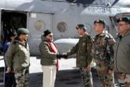 Prime Minister Narendra Modi is received on his arrival at Siachen Base Camp