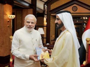 Narendra Modi with H H Mohammed bin Rashid Al Maktoum