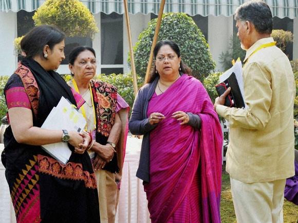 Prime Minister of india, Narendra Modi, NITI Aayog, Union HRD Minister Smriti Irani,  N Chandrababu Naidu, Vasundhara Raje, Anandiben Patel