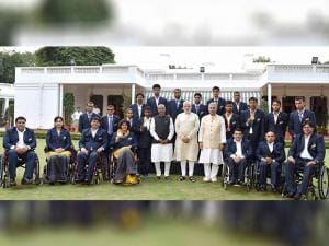 Narendra Modi  meeting with the participants of the Rio Paralympics-2016