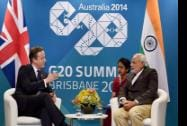 Prime Minister Narendra Modi with UK Prime Minister David Cameron during a meeting