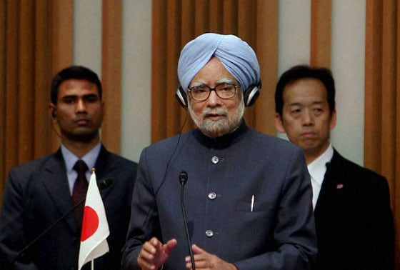 Prime Minister Manmohan Singh addresses a luncheon meeting hosted by the business lobby Keidanren, the Japan Chamber of Commerce and Industry (JCCI) and the Japan-India Business Co-operation Committee in Tokyo