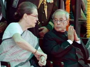 President Pranab Mukherjee with Congress President Sonia Gandhi