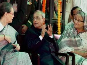 President Pranab Mukherjee with Prime Minister of Bangladesh, Sheikh Hasina