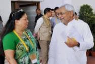 Bihar Chief Minister Nitish Kumar with the Rajasthan CM Vasundhara Raje