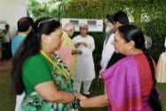 Gujarat Chief Minister Anandiben Patel with the Rajasthan CM Vasundhara Raje
