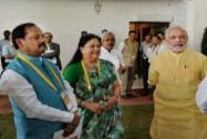Narendra Modi with Vasundhara Raje and Raghubar Das