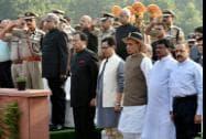 Union Home Minister Rajnath Singh with MoS for Home, Kiren Rijiju, Union Minister for Tribal Affairs, Jual Oram, MoS  PMO, Jitendra Singh, CBI director Ranjit Sinha