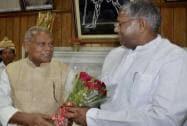 Ram Manjhi greets Bihar assembly speaker