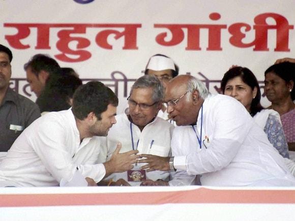 Congress Vice President, Rahul Gandhi, Sushil Kumar Shinde, Mallikarjun Kharge, P Chidambaram, Ambedkar 125th birth anniversary