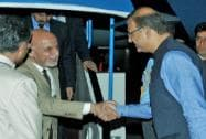 Afghanistan's President Ashraf Ghani  being received by the Minister of State for Finance,Jayant Sinha