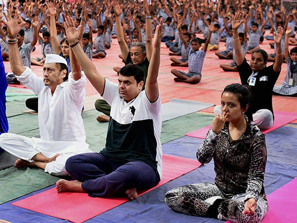 Devendra Fadnavis, yoga day 2017, Yoga Day, Yoga, International Yoga Day 2017, Narendra Modi, Prime Minister