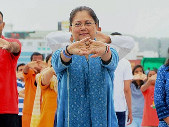 Vasundhara Raje, yoga day 2017, Yoga Day, Yoga, International Yoga Day 2017, Narendra Modi, Prime Minister