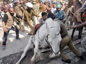 A file photo of Shaktiman, the Uttarakhand police horse which died in Dehradun on Wednesday. The horse was injured during a BJP protest in Uttarakhand on March 14