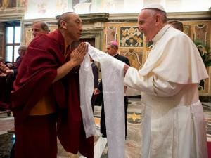 Pope Francis meets with a representative of the Buddhist religion on the occasion of an inter religious meeting