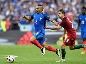Adrien Silva with Dimitri Payet during the Euro 2016 final
