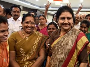 AIADMK General Secretary VK Sasikala interacting with party's MLAs