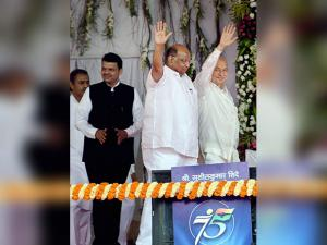 Chief Minister of Maharashtra Devendra Fadnavis with NCP President Sharad Pawar and senior Congress leader Sushilkumar Shinde
