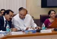 Nirmala Sitharaman, Arvind Mayaram during a pre-Budget meet