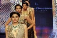 Models walk the ramp during India International Jewellery Week 2015