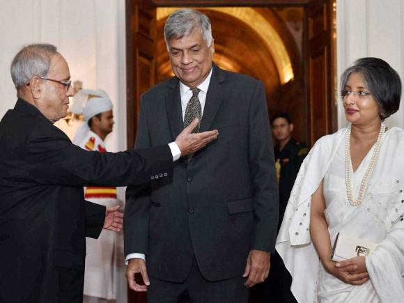 President of India, Pranab Mukherjee, Wickremesinghe, Fishermen issue, Ranil Wickremesinghe, Sri Lankan PM, India Sri Lanka, Wickeremesinghe India