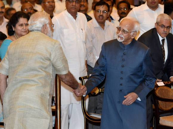 Vice president of India, Hamid Ansari, Prime Minister of India, Narendra Modi, ISRO, Gandhi Peace Prize, Indian Space Research Organisation