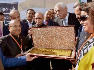 Pranab Mukherjee and others  during inauguration of Mahatma Gandhi Street
