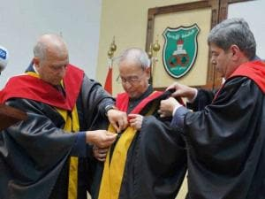 President Pranab Mukherjee receives honorary doctorate in political science from university of Jordan