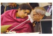 President Pranab Mukherjee and HRD Minister Smriti Irani during Conference of Vice Chancellors of Central Universities