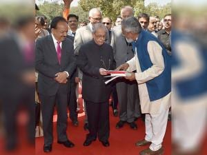 President Pranab Mukherjee with Executive Vice -Chairperson of National Innovation Foundation(India), Anil K Gupta