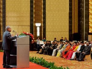 President Pranab Mukherjee addressing the Indian community during a reception organised in his honour in Guangzhou, China
