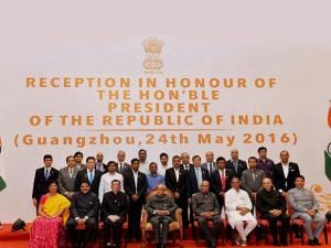 President Pranab Mukherjee in a group photograph during a reception organised in his honour in Guangzhou (2)
