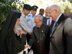 Israeli President Reuven Rivlin is introducing officials to President Pranab Mukherjee