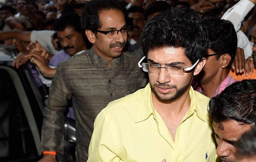 Shiv Sena president, Uddhav Thackeray, along,son, Aditya, arrive, press conference, Shiv Sena Bhavan, Mumbai